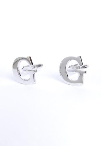 Splice Cufflinks silver Monogram Alphabet Rhodium Plated Cufflinks - G SP744AC31PQUSG_1