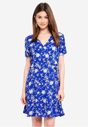 JACQUELINE DE YONG blue ESTHER S/S WRAP DRESS WVN 48689AAA5FC441GS_1
