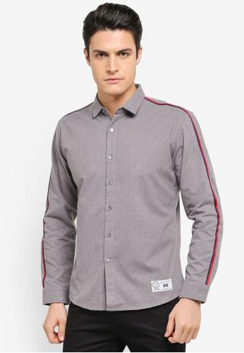 JAXON grey Long Sleeves Shirt with Trim 61C69AA900AA96GS_1