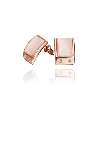 Glamorousky silver Simple Plated Rose Gold Geometric Opal Stud Earrings 2F555AC3EEB440GS_1