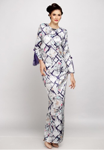 Dayana Kurung Kedah Modern from LIDYA KUALA LUMPUR in White and Purple and Multi