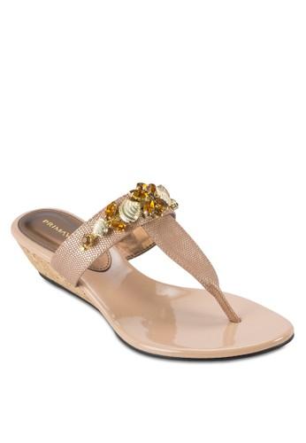 SEALA 閃石Tesprit hong kong 分店 字帶楔形涼鞋, 女鞋, 鞋