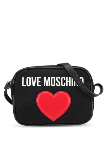 Love Moschino black Borsa Canvas Sling Bag LO478AC0SEK4MY_1