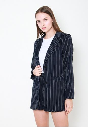 Leline Style blue Gemma Stripes Blazer 8B55EAAC8BB80BGS_1