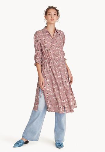 Pomelo pink Midi Floral Button Up Slit Shirt - Pink 8D3B4AA8B32E98GS_1
