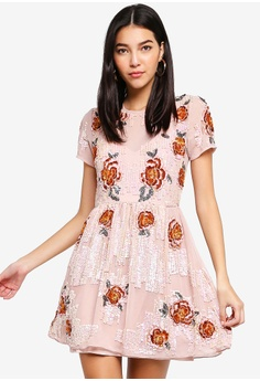 48577956fe8880 Miss Selfridge pink Floral Embellished Fit And Flare Dress  1D4DBAAE957887GS 1