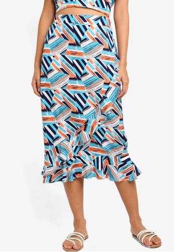 Something Borrowed 多色 Overlap Ruffles Midi Skirt 65C57AA3E249D9GS_1