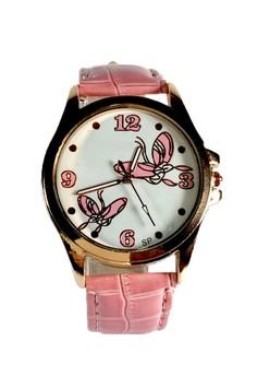 Kimchi Light Pink Butterfly Leather Strap Watch