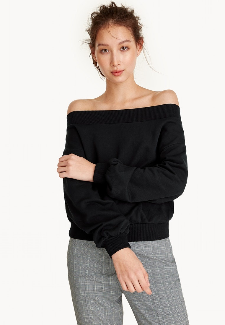 Black Pomelo The Off Shoulder Sweater Top Black FncBZXBqwx