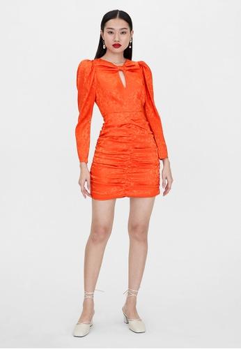 Pomelo orange Ruched Long Sleeve Dress - Orange BDE34AA1B4E855GS_1