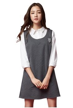 【ZALORA】 OUWEY歐薇 學院風條紋假兩件洋裝