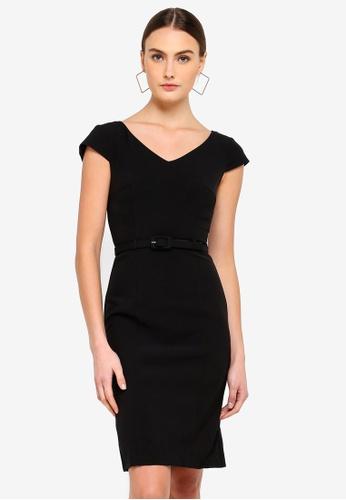 FORCAST black Rowan Belted Dress 652B8AA9446F48GS_1