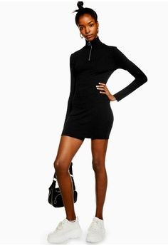 7117385f64 TOPSHOP Ribbed Zip Jersey Dress RM 159.00. Sizes 6 8 10 12 14