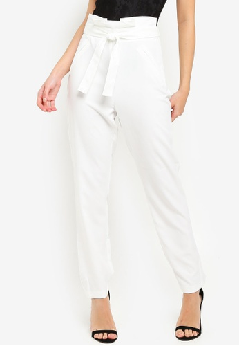 MISSGUIDED white Paperbag Waist Trousers B64C5AA08E5C03GS_1