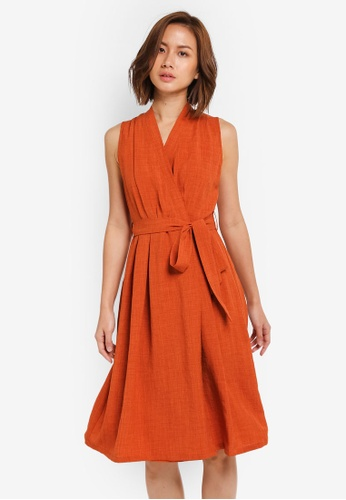 ZALORA orange Wrapped Midi Dress with Pleats 5DDD3AAB012494GS_1