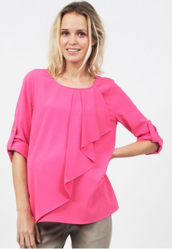 Bove by Spring Maternity pink Allyson Woven Long Sleeves Draping Top Fuchsia ITN5502 BO010AA0FBR8SG_1