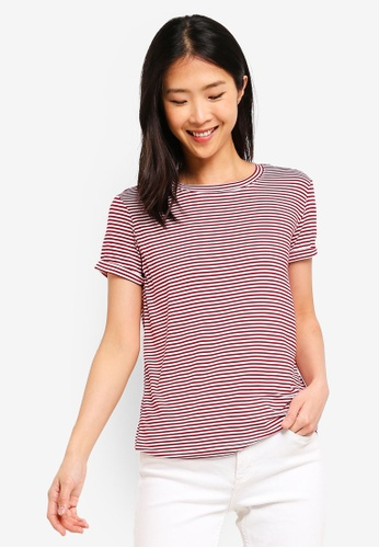 ZALORA BASICS red Basic Rolled Sleeves Crew Neck T-Shirt 58C13AA001386EGS_1