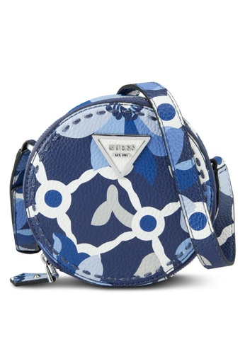 Guess blue and multi Sawyer Mini Round Crossbody Bag 11D01AC4D09045GS_1