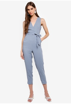 37f61d2dcc 38% OFF ZALORA Sleeveless Wrap Jumpsuit S$ 39.90 NOW S$ 24.90 Sizes XS S M  L XL