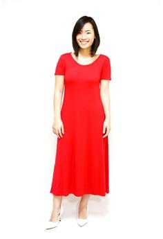 Short Sleeves Plain Long Dress