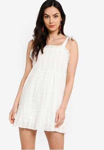 Tula Cruz white Textured Cotton Tiered Mini Dress 312F8AAB3741FBGS_1