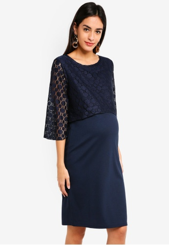 Noppies blue and navy Maternity Marron 3/4 Sleeve Dress E9EC5AABABCB32GS_1