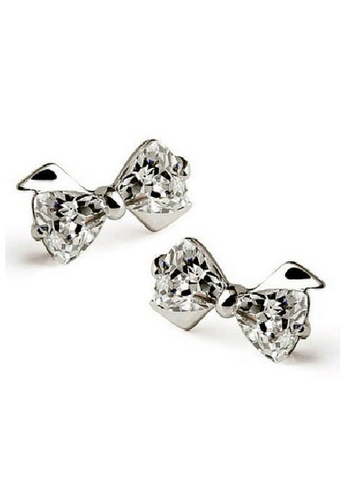 Vivere Rosse silver Bow Knot Platinum Plated Stud Earrings VI014AC17ZUWMY_1