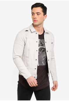 3ce0d0b82ec Only   Sons grey Paw Distressed Jacket 0C56CAAA3A4A99GS 1