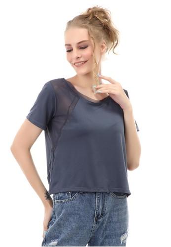 Hamlin grey Baju Olahraga Kaos Sport Wanita Short Sleeve Absorb Sweat Kombinasi Jaring Material Polyester ORIGINAL - Grey BF689AA0186946GS_1