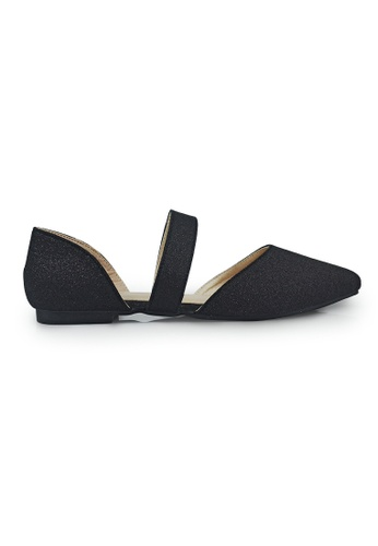 SHINE black Strap Point Toe Ballerinas D7268SHFABB613GS_1