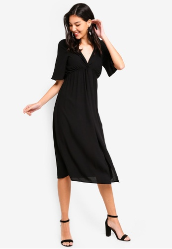 ZALORA black Twist Front Midi Dress 637F7AAF3B5531GS_1