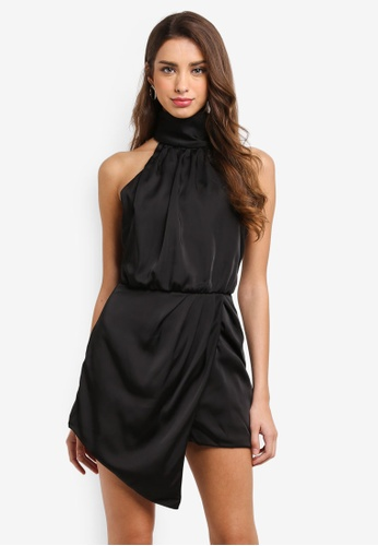 MISSGUIDED black High Neck Satin Wrap Playsuit A106DAAAE9032CGS_1