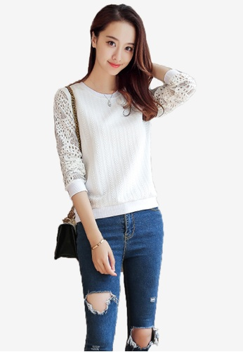 Halo white F/W Long Sleeves Lace Top D2974AA3DB6EA1GS_1