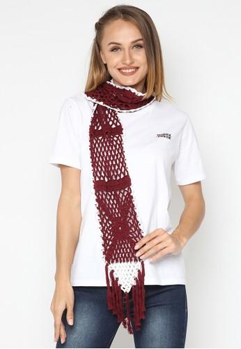 Mobile Power red Knitting Syal Marron & White Mobile Power Ladies - J7001 B895EAA2534D54GS_1