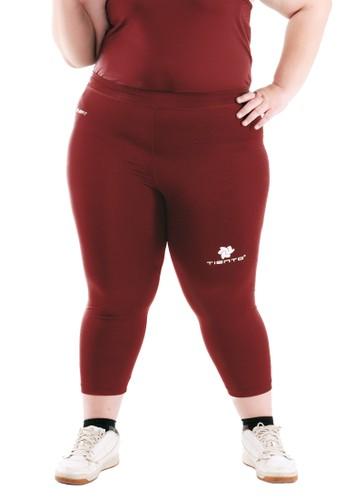 Tiento Tiento Women Compression Big Size 3/4 Pants Maroon Celana Legging Leging Jumbo Sebetis Wanita Olahraga Original 9FA10AAE0BA107GS_1