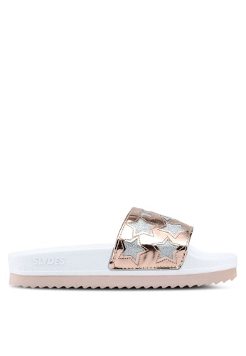 Slydes white and multi Starstruck Sandals 43B2CSHBE14266GS_1