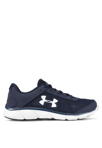 Under Armour white and navy UA Micro G Assert 7 Shoes UN337SH0SUABMY_1