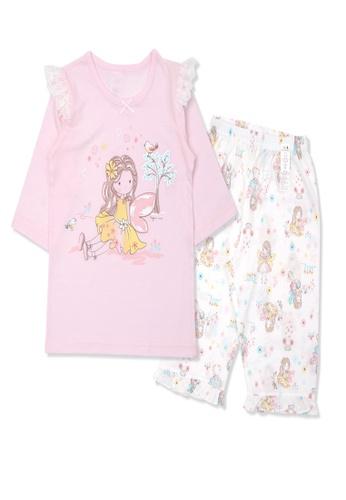 Organic mom pink Organic Cotton Celia Fairy 3/4 Sleeves Pjs 169E4KA35F7CF5GS_1