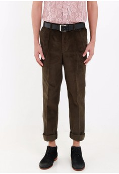 [PRE-ORDER] Flat Front Back Elastic Waist Carrot Pants in Corduroy