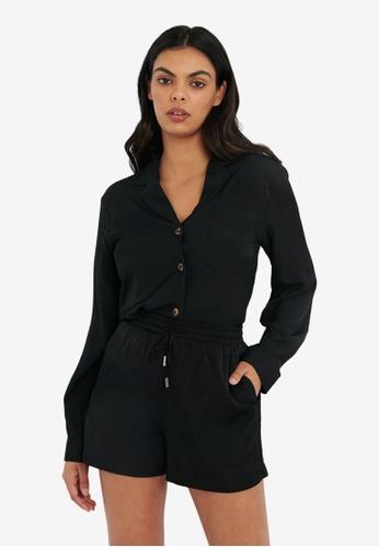 FORCAST black Rita Pyjama-Style Blouse CCF52AAA01B6CBGS_1