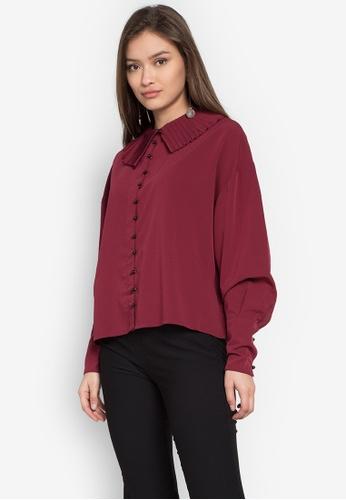 TOPSHOP red Clown Collar Shirt TO099AA0KP45PH_1