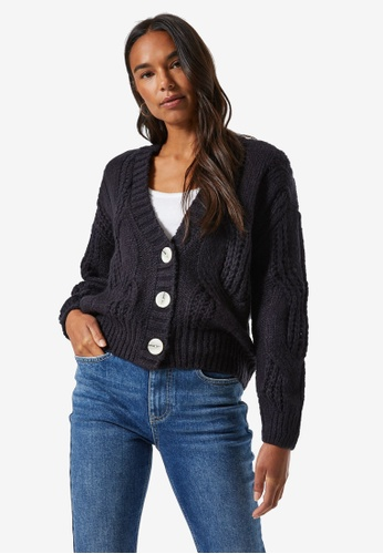 Dorothy Perkins navy Navy Cable Knit Cardigan F481FAA97D26A8GS_1