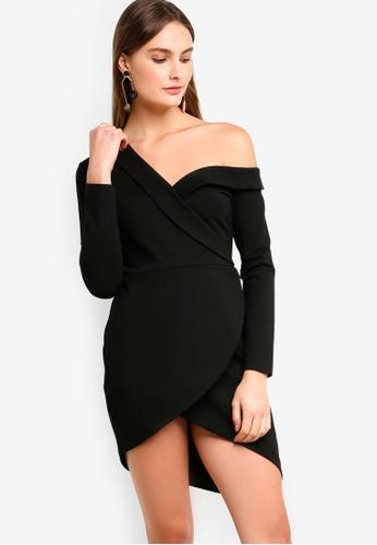 e9e34291fe4 Lavish Alice black Ponte Off The Shoulder Asymmetric Mini Dress In Black  6EBAAAA9FA33BAGS_1