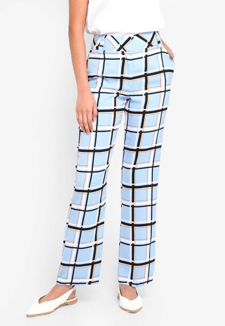 Trousers TOPSHOP Slouch Blue Checked Light EEqrT1C