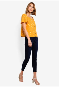 ebc6c30faa2609 Dorothy Perkins Ochre Spot Button Tee RM 149.00. Available in several sizes
