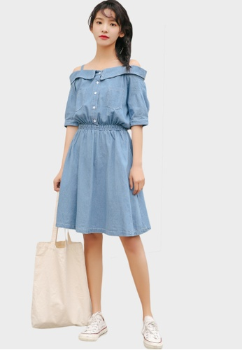 Shopsfashion Split Shoulder Fit and Flare Dress A44B2AA799DAE7GS_1