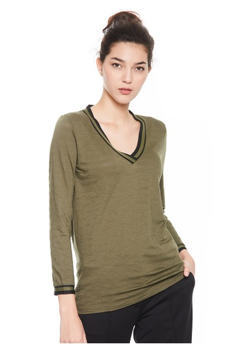 Sisley green V-neck Blouse. 04CC2AAD0B7913GS_1