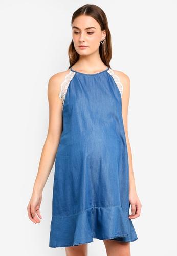 Spring Maternity blue Maternity Sleeveless Denice Halter Neck Dress 781F3AAB73E3A3GS_1