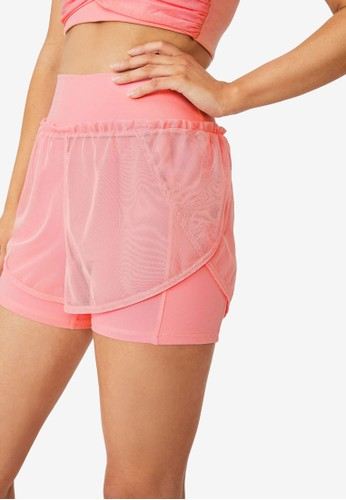 Cotton On Body pink Double Layer Run Shorts 15639AAF154C4FGS_1