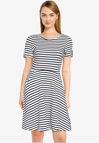 Dorothy Perkins blue Petite Navy And White Stripe T-Shirt Dress 2B4B2AA7EE2410GS_1